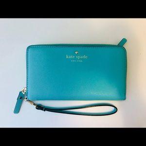 Kate Spade Teal Zip-Up Wristlet/Wallet